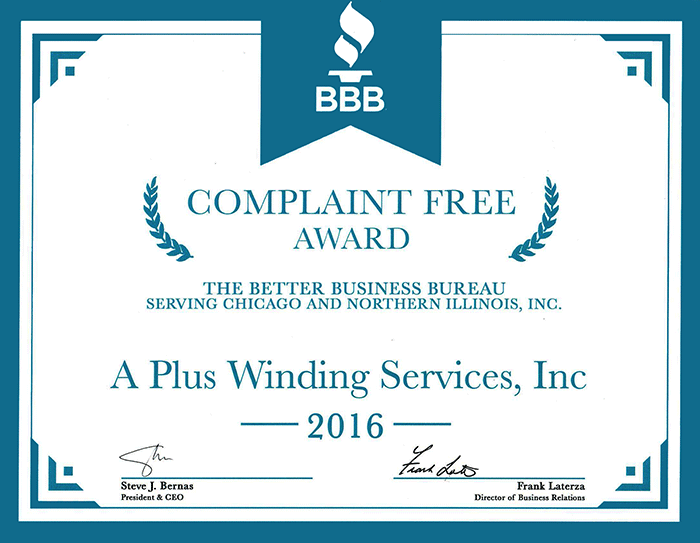 Better Business Bureau Compliant Free Award — 2016